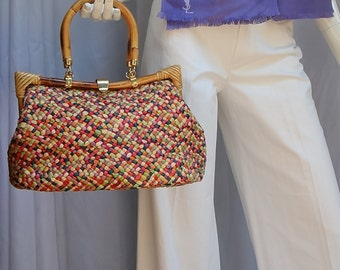 50s6-0s DELILL Colorful Woven Raffia Purse w/Bamboo Handles and Frame Italy