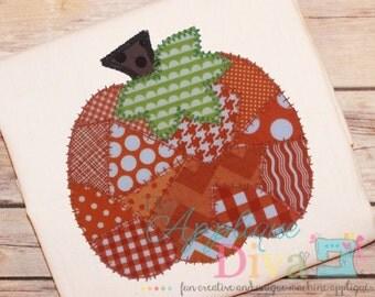Fall Patchwork Pumpkin Digital Embroidery Design Machine Applique