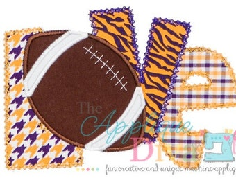Fall LOVE Football Embroidery Design Machine Applique