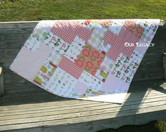 Organic cotton baby quilt, lap quilt, floor play quilt, coral pink posey