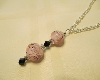 Bubbles Lampwork Bead Necklace in Pale Pink