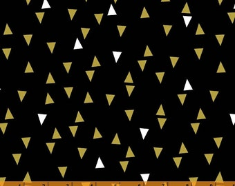 Bold and Gold - Floating Triangle Black by Ampersand Design Studio from Windham Fabrics