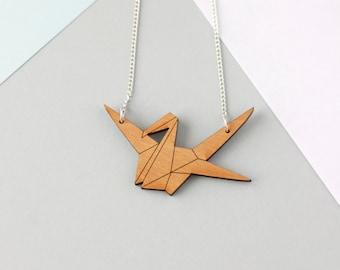 Wooden Origami Crane Necklace (Cherry Wood) - Modern Handmade Jewellery