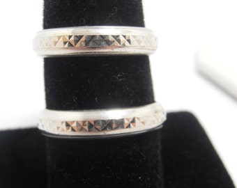 Matching white gold  wedding rings  his and hers   Both are  5mm wide