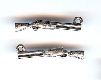 SHOTGUN Charm. Pewter. 3D. Gun. Made in the USA.