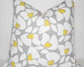 Decorative Floral Pillow Cover White Yellow & Grey Flower Pillow Cover Grey Yellow Pillow Cover  18x18