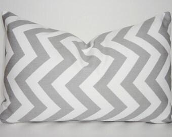 OVERSTOCK SALE !!!  Decorative Pillow Grey & White Chevron Zig Zag Lumbar Pillow Cover Size 12x18