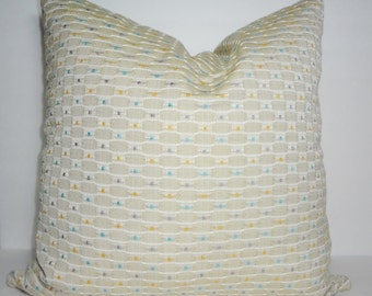 Yellow Blue Grey Tan Pillow Cover Decorative Embroidered Pillow Cover 20x20