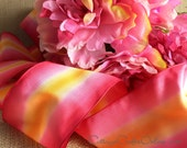 """Wired Ribbon, 3"""" Ombre, Bright Pink, Pale Pink and Yellow Gold - Three Yards - Offray """"Espirit  Raspberry"""" Craft  Decor Wire Edged Ribbon"""