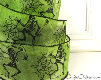 "Halloween Wired Ribbon, 2 1/2""  Skeletons, Spider Webs on Acid Green Sheer - TEN YARD ROLL - d. stevens ""Skeleton Dance"" Wire Edged Ribbon"