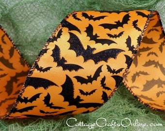 "Halloween Wired Ribbon,  2 1/2""  wide, Black Glittered Bats on Orange - THREE & 2/3 YARDS  -  #60404 ""Bat Skies"" Wire Edged Ribbon"