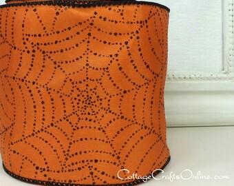 "Halloween Wired Ribbon, 4"", Black Glitter Spider Webs, Orange Taffeta - TEN YARD ROLL - d. Stevens ""Web Bright"" Orange Wire Edged Ribbon"