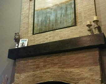 "Custom Floating Mantel beam  -  rustic  kona stain- 72""   made to order"