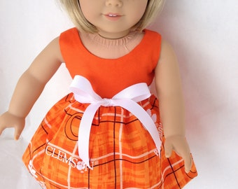 18 inch doll dress using Clemson Tigers Plaid fabric,  made to fit 18 inch dolls such as American Girl and similar 18 inch dolls