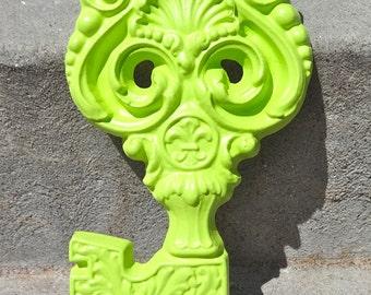 Large Lime Ornate Metal Skeleton Key Vintage