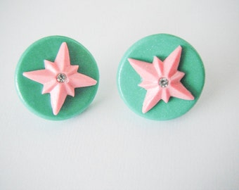 Green and Pink Starbust Earrings
