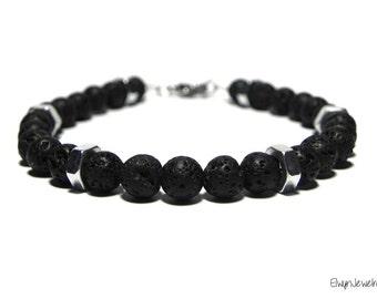 Gemstone Bracelet, Lava Bracelet, Hex Nut Bracelet, Mechanic Gift, Engineer Gifts, Black Mens Bracelet, Men's Jewelry, Mens Gift