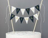 Little Prince Cake Topper Banner, Boy Baby Shower Cake Centerpiece, Navy Blue and White with Gold Metallic Letters Birthday Bunting Sign