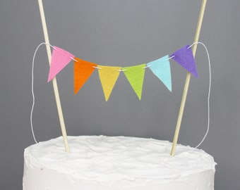 Pastel Rainbow Birthday Mini Cake Bunting, Neon Cake Topper Banner, Party Decoration, Baby Shower Cake Centerpiece, Food Pick Banner
