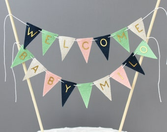 Personalized Welcome Baby Cake Topper Bunting, Blush Mint Navy Blue and Beige Baby Shower Sign Banner, Metallic Gold Letters, Gender Neutral
