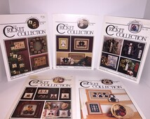 Lot of 5 Cross Stitch Booklets  The Cricket Collection Folk Art Sampling,Just Plain Friends,Jonas and Friends,Trimmings Two, Bear Essentials