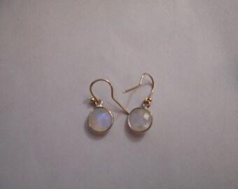 Sterling Silver gemstone bezel earrings - round