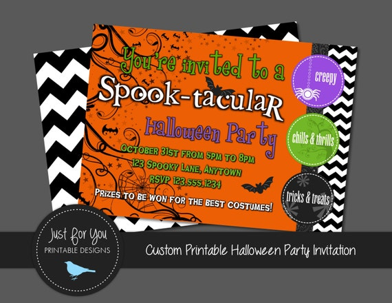 Halloween Party Invitation Invite - YOU PRINT (Digital File) - Halloween Printables