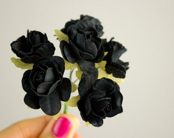 Bouquet Black Paper Flowers / 1.5 Inch Blossom / Vintage Black Roses With Wire Stems / Set of Six Blossoms / Gift Wrapping / Wedding