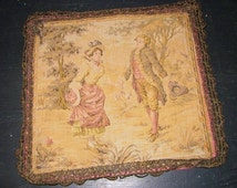 French Passementerie / 1800's Pillow Top / Tapestry French / Metalic Trim / Courting Scene