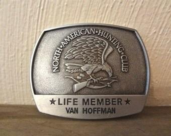 Vintage Life Member North American Hunting Club Silver Metal Belt Buckle 1981