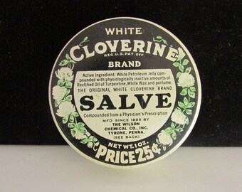 Vintage White Cloverine Salve, Vintage Tin, Vintage Collectible, Vintage Memories, Vintage Advertising,