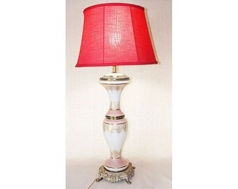 Tall Vintage table lamp Ornate Red and Gold Accent Design