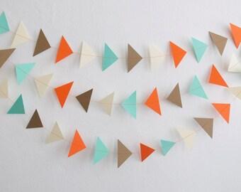 Triangle Garland, Paper Triangle Garland, Triangle Garland, Triangle Bunting, Paper Garland, Birthday Garland, Party Decor, Wall Decor