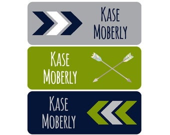 School Labels, School Name Labels, Waterproof School Labels, Personalized School Labels, Boy, Arrows, Chevron, Grey, Navy Blue, Lime Green