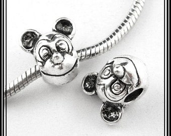 DISNeY - MICKEY MOUSE Head -  ANTiQUE Silver Tone Charm Bead - fits European Bracelets - MS-1070