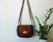 Vintage Leather Purse. Boho fashion. Autumn Trends. Saddle Bag.