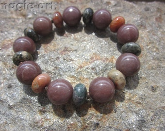 Dinosaur Coprolite and brown Aventurine Bracelet