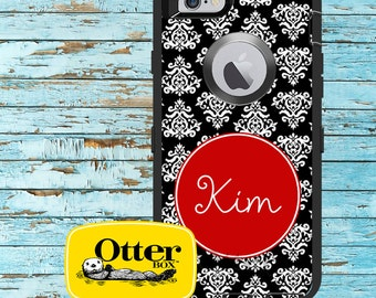 Monogrammed OtterBox Defender Phone Case, Personalized OtterBox, iPhone 6, 6 Plus, iPhone 5/5S/5C, Galaxy S5 Damask