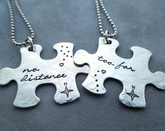 No distance too far, hand stamped puzzle piece necklaces, long distance relationship, friendship