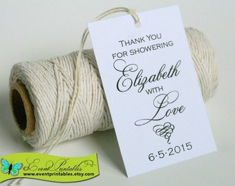 Printable Bridal Shower Favor Tags, Shower with Love DIY Thank You Gift Tags, Personalized Favours by Event Printables