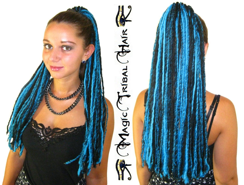 Black turquoise goth dread hair falls yarn dreadlocks 112 zoom pmusecretfo Images
