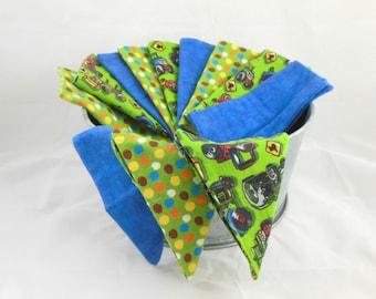 Cloth Wipes, Washcloths, Burp Cloths, Handkerchiefs, Dust Cloths, in Tractors, Dots, & Blue