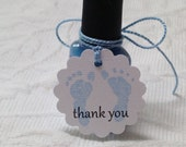 Set of 12 Mini Scallop Blue Baby Feet Tags - Nail Polish Tags - Baby Shower Favor Tag