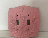 Pink Double Switch Plate Cover - Shabby Cottage Chic - Girls Room - Distressed Gold - Flowers  Floral - Pink Home Decor - Baby Girls Nursery
