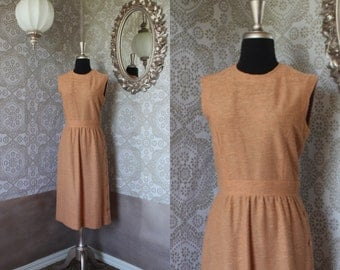 Vintage 1950's 60's Tan Nubby Fabric Fitted Dress M/L