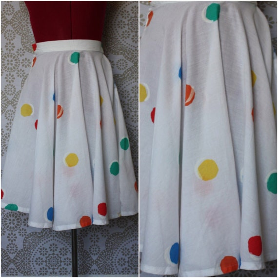 Vintage 1980's White Cotton Skirt with Polka Dots Small