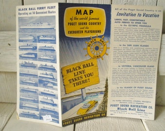 Vintage map Puget Sound Evergreen Playground guide brochure Blackball Line Ferry 1950s