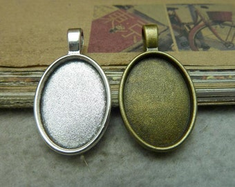 10pcs 18x25mm Antique Bronze  Cameo Cabochon Base Setting Tray Blanks Pendants Charm Pendant C7711