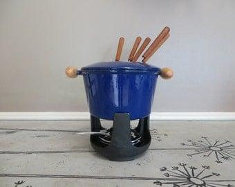 Fondue Pot Cast Iron Pot Blue Cast Iron Cookware Blue Kitchen Fondue Sticks Retro Cookware Hostess Gift