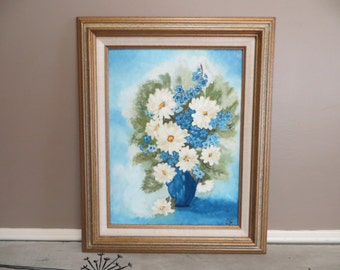 Hand Painted Acrylic Blue and White Daises Flower Pot Signed Original Art Large Flower Bouquet Sibley Artist Framed Art Impressionism Art